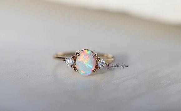 Alora Opal and Diamond Ring