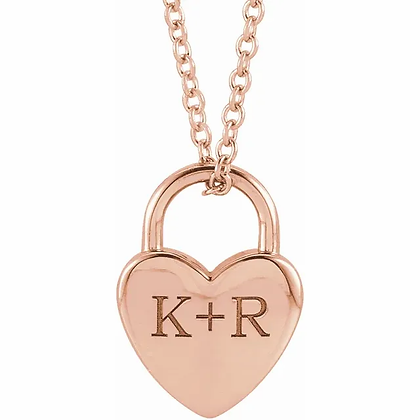 Heart Lock Initial Necklace