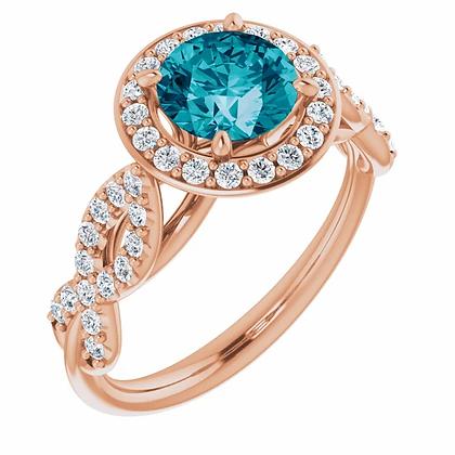 Elle Blue Topaz Diamond Halo