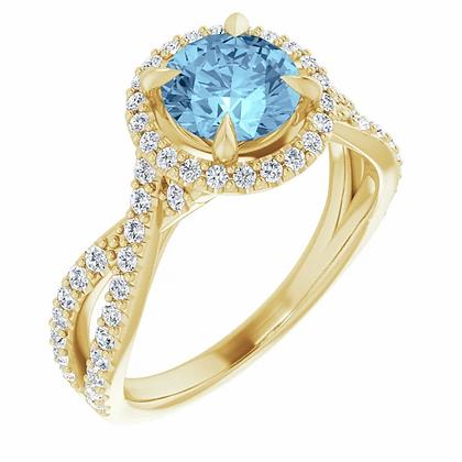 Dahlia Aquamarine and Diamond Halo