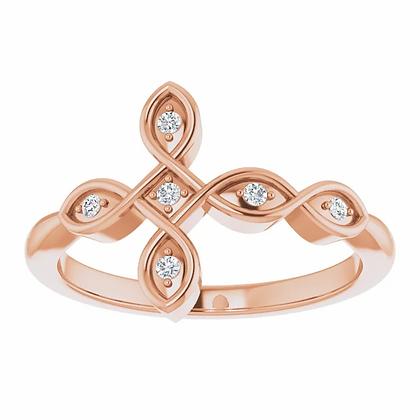 Horizontal Diamond Cross Purity Ring