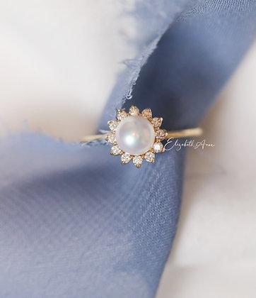 Avisa Pearl and Diamond Engagement Ring