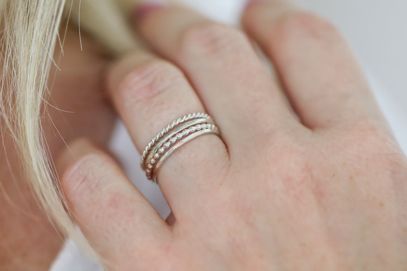 Textured Silver Ring Set