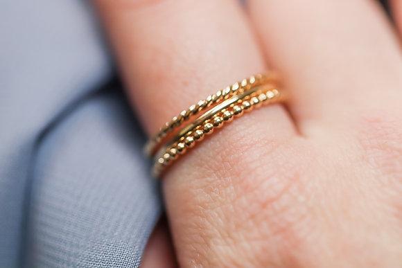 Textured Gold Ring Set