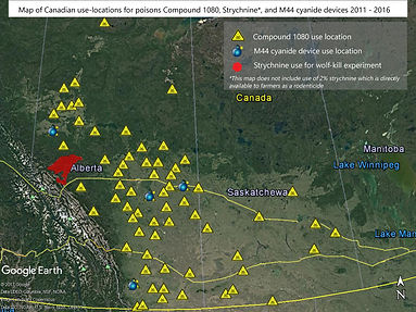 Map of Canadian-use locations fo poisons Compound 1080, Strychnine and M44 Cynanide