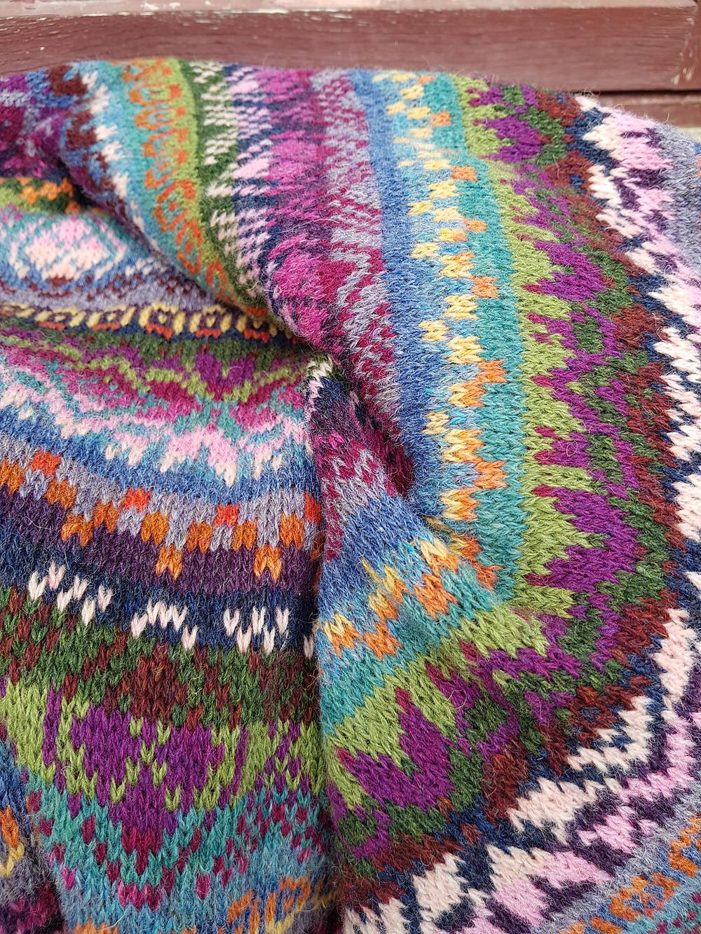 Knitted fair isle shawl