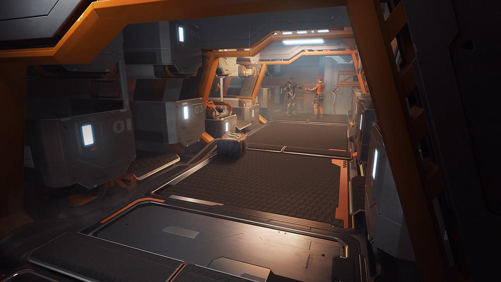 Pioneer sleeping quarters industrial spaceship design Star Citizen sci-fi