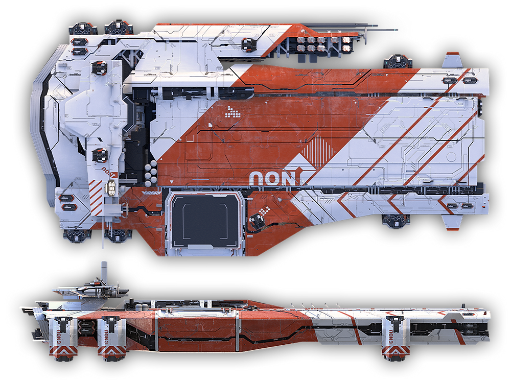Pioneer Star Citizen detailed look with transparent background, industrial Star Citizen spaceship cutout