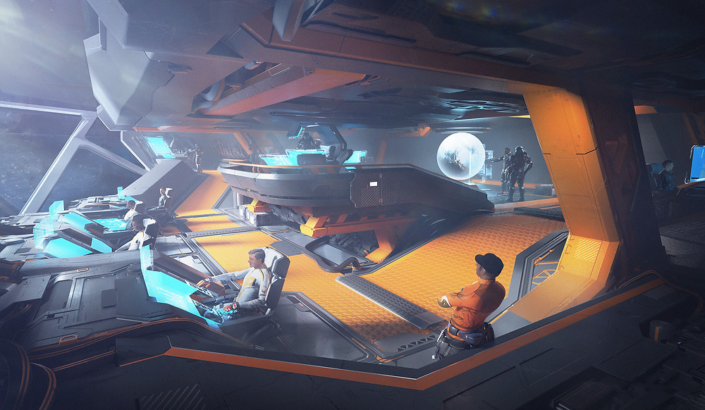 Pioneer bridge - Star Citizen spaceship concept art design command centre capital ship bridge
