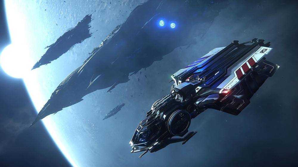 Star Citizen Aurora flying away from a Vanduul Kingships