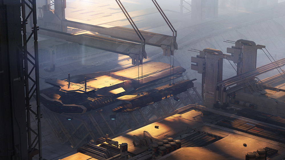 Pioneer during construction being assembled in a shipyard - Star Citizen industrial concept art design