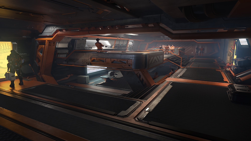 Pioneer Star Citizen habitation deck with big bennys and industrial design - outpost construction consolidated outland design