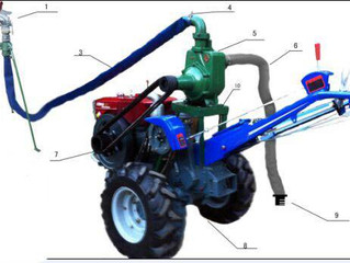 Two wheel tractor with water pump attachment