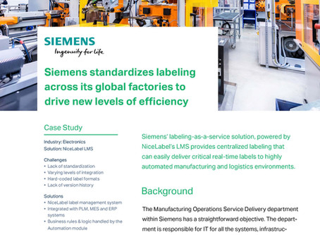 Siemens standardises labeling across its global factories to drive new levels of efficiency