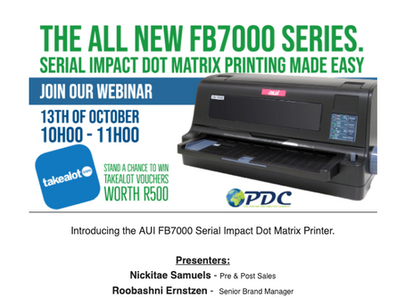 Join our Webinar - 13th of October - The New FB7000 Serial Dot Matrix Series.