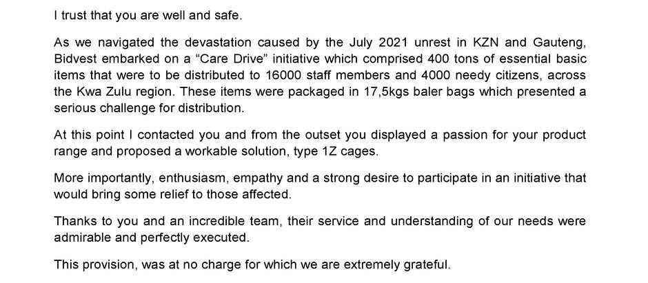 Letter of Thanks from Bidvest Afcom to TrenStar