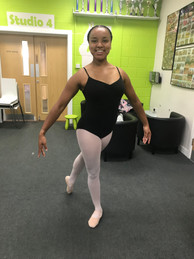 Miss Naomi before her ISTD Intermediate ballet exam