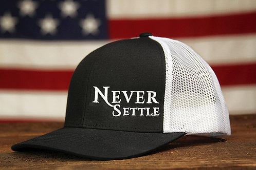 Never Settle Snap Back - Black/White/White