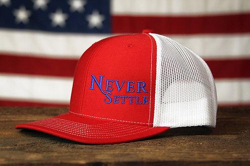 Never Settle Snap Back - Red/White/Blue
