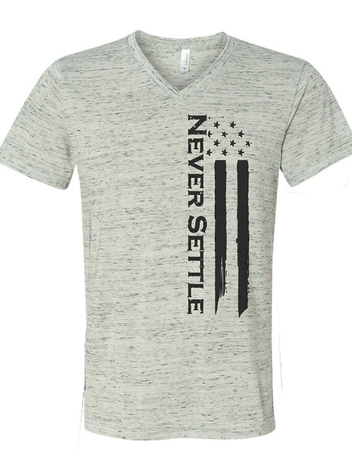 White/Black V-Neck Never Settle Flag