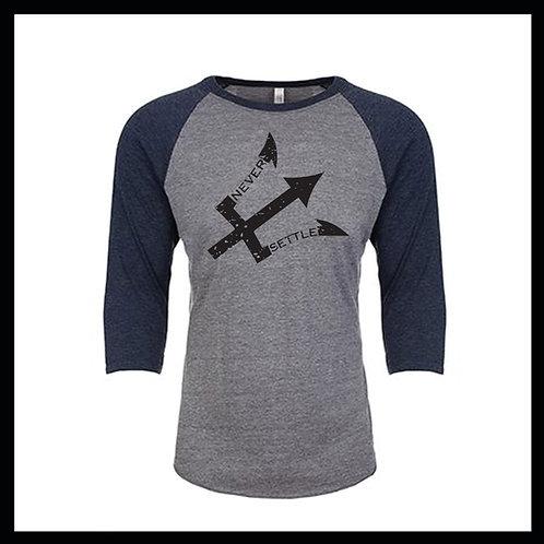 Grey/Blue NS Logo 3/4 Baseball tee
