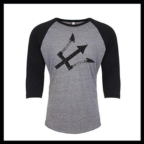 Grey/Black NS Logo 3/4 Baseball tee