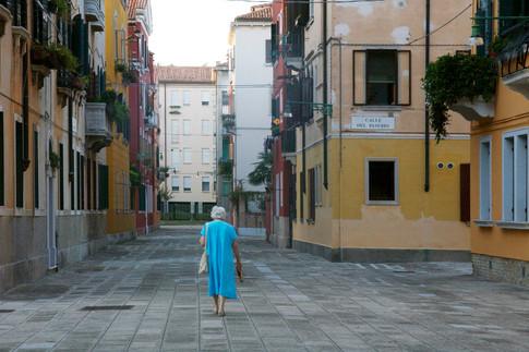 Blue Dress in Venice, Italy