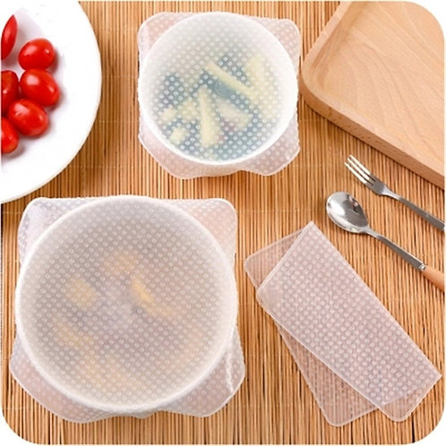 4Pc Reusable Silicone Food Wrap