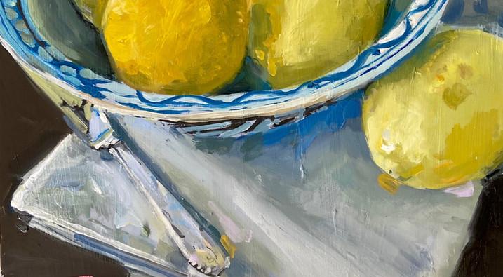Lemons in Blue and White Bowl