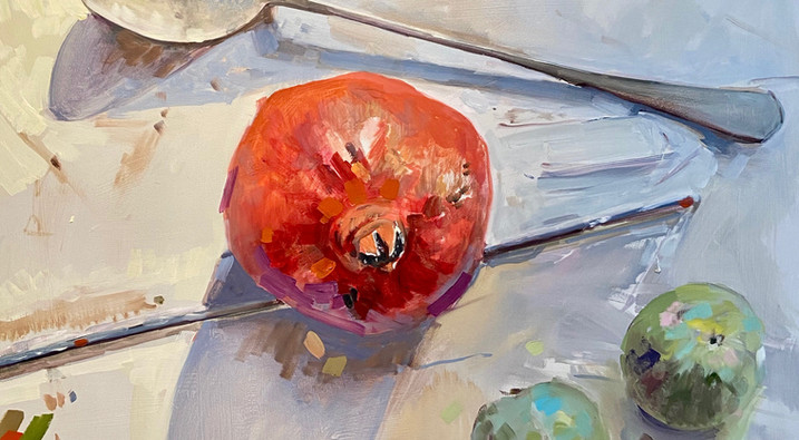 """Pomegranites and Plums 36"""" x 36"""""""