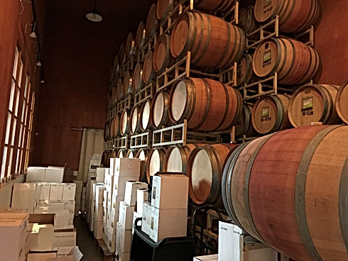 Stacked Barrels at a Craft Winery