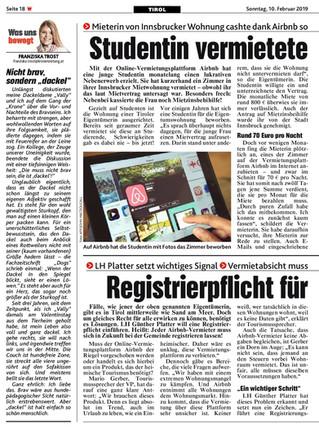 Registrierpflicht für Airbnb geplant