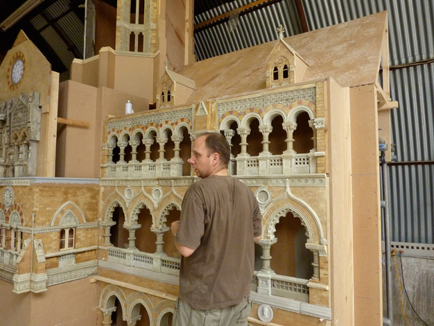 Model maker Steve Scott with Mumbai station miniature