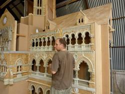 Model maker Steve Scott with Mumbai station miniature