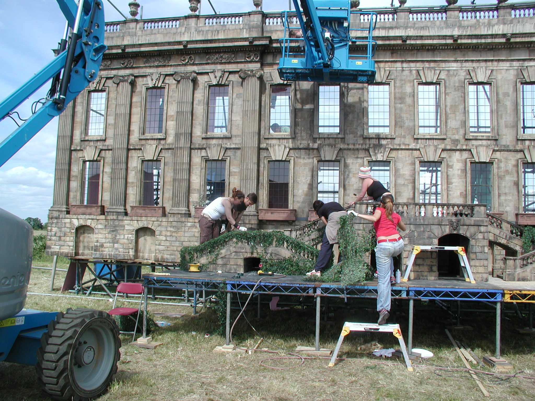 Model makers dressing the SFX miniature Chatsworth house