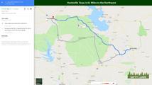 Huntsville Texas is 61 Miles to the Nort
