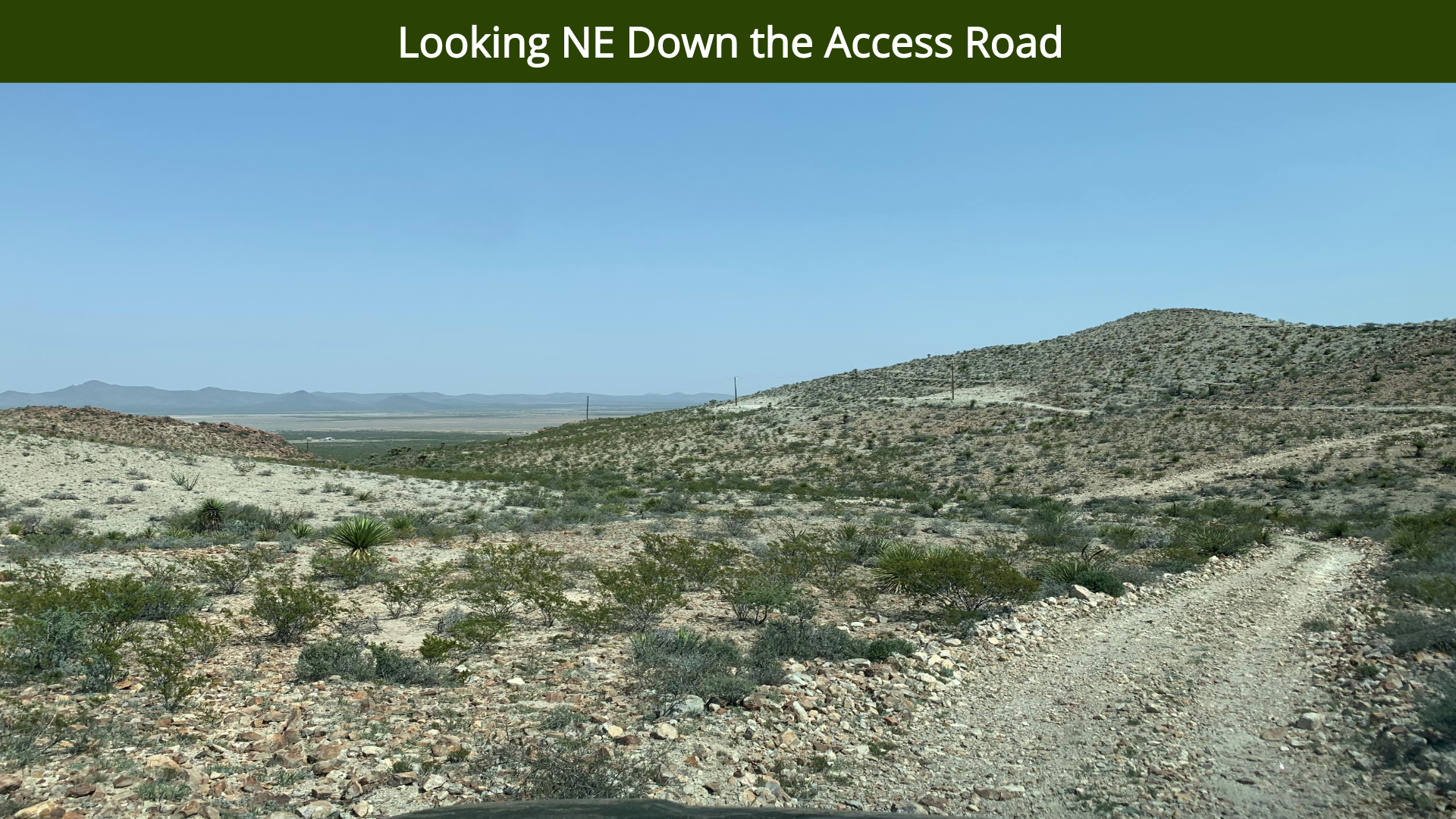 Looking NE Down the Access Road