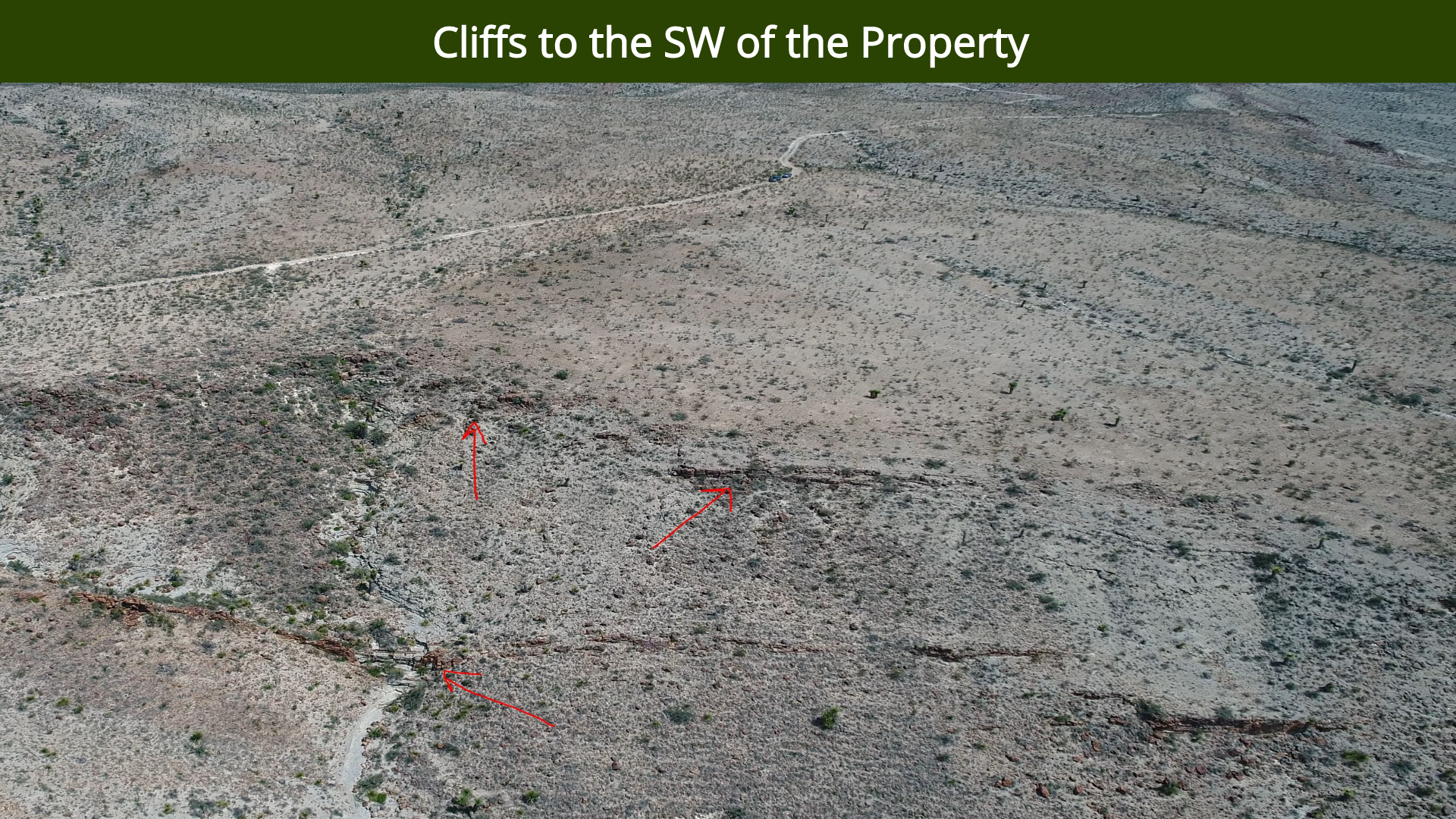 Cliffs to the SW of the Property