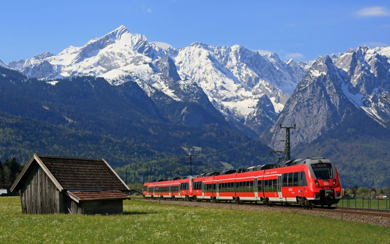 DB (German Rail) electrified train in the Bavarian Alps
