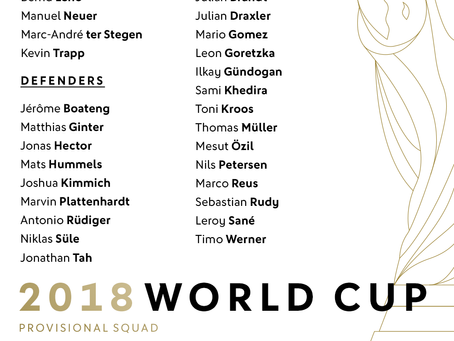 Provisional World Cup 2018 Roster for Die Mannschaft released