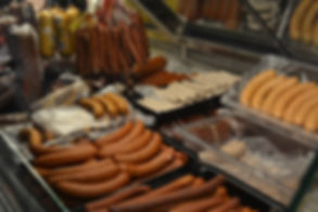 Sausages in deli case