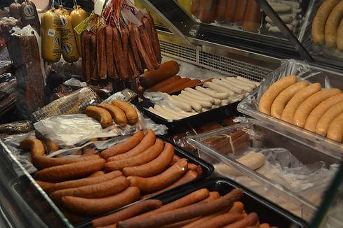 Sausages in deli case