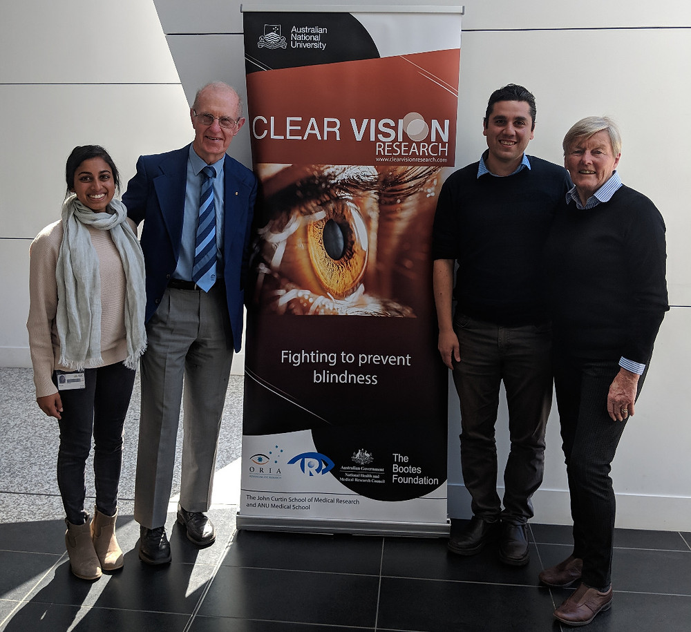 From Left to Right: Dr Nilisha Fernando (Clear Vision Research), Robin Poke (Retinal Australia, ACT), Dr Riccardo Natoli (Clear Vision Research) and Jan James (Retina Australia, ACT).