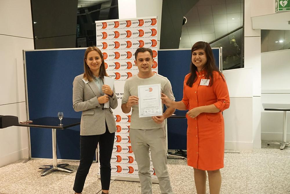 Adrian Cioanca won Best Oral Presentation of the day.