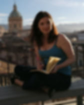 Author Jodie Bond writing in Palermo