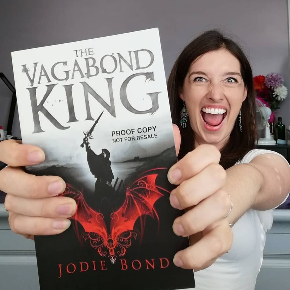 Writer Jodie Bond with her novel the Vagabond King