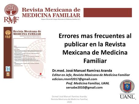 Errores más frecuentes al publicar en la Revista Mexicana de Medicina Familiar