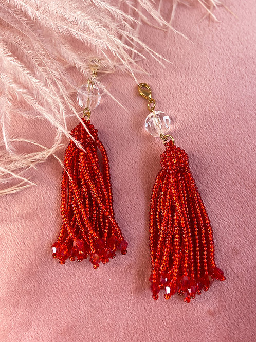 Ruby Red Classic Beaded Tassels