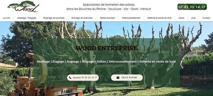 Découvrez le site Wood Élagage |  Abattage - Émondage | Rognage de souches | Broyage de branches | Taille | Débroussaillement | Refente et vente de bois | Spécialistes de l'entretien des arbres