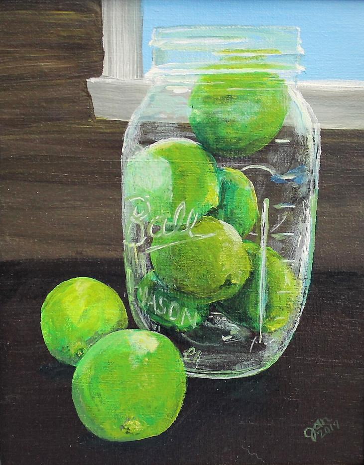 Limes in a Mason Jar